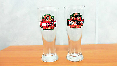 Lot of 2 Hahn Brewing Longbrew Lager Beer Glasses
