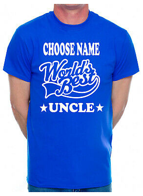 Personalised Mens T-Shirt Worlds Best Uncle Choose Name Gift From Nephew Family