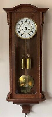 Antique Twin Weight 8 day Vienna Wall Clock Circa 1890 oak case