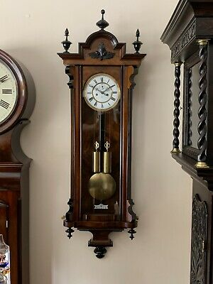 Antique Twin Weight 8 day Vienna Wall Clock Circa 1880 By Gustav Becker