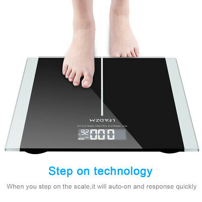 Upgraded 400lb Digital LCD Glass Bathroom Scale Body Weight Scale High Precision