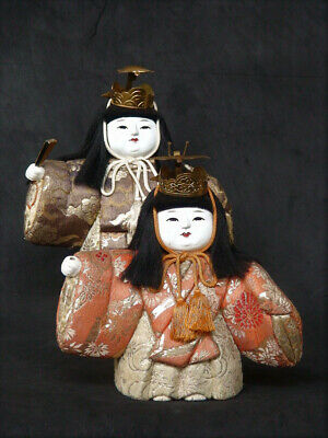 Antique Japanese Kimekomi Ningyo Doll  with Turtle Crane Crown Set of 2