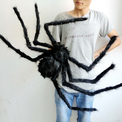 200CM Large Plush Giant Spider Decorations Halloween Haunted House Grass Props