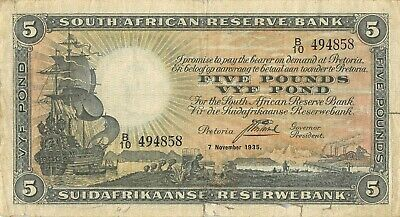 South  Africa  5  Pound  7.11.1935  P 86b  Series B/10  Circulated Banknote MeF