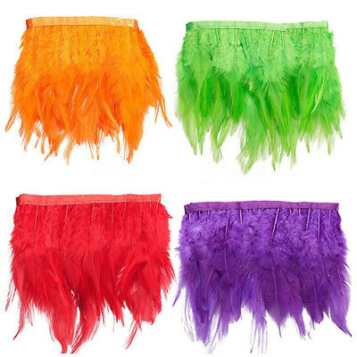 CG_ BL_ Natural Goose Hackle Coque Feather Fringe Craft Trim Sewing Costume Mill