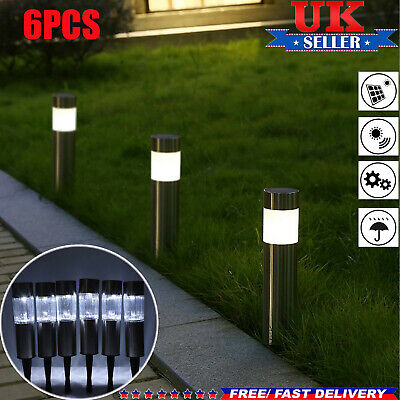 6 X Solar Powered Garden Lights Post  Patio Outdoor Stainless Steel LED Light
