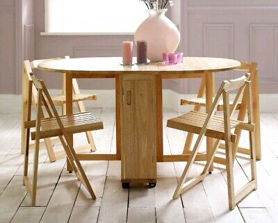 Beech Folding Dining Wooden Table And 4 Chairs Set Extending butterfly fold away