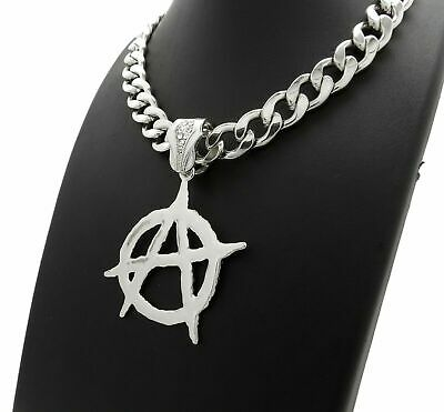"""ICED HIP HOP ANARCHY PENDANT & 11mm 20"""" MIAMI CUBAN LINK CHOKER CHAIN NECKLACE"""