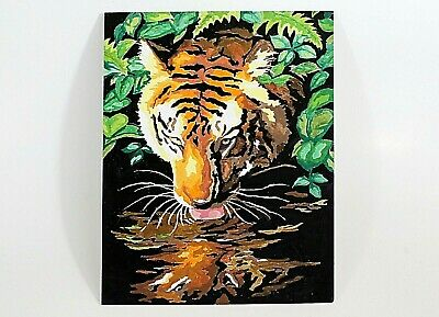 """Vintage Paint By Numbers Tiger Picture, Unfinished, 12 x 9"""""""