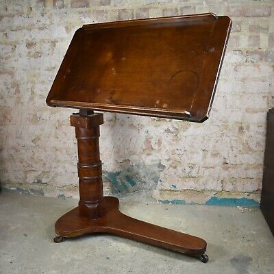 Antique Victorian Reading Table Lecturn Easel Stand Leveson English C1880 London