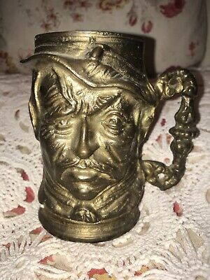 Vintage Solid Brass Toby Mug Angry Man Tankard Cup Stein Face Large Heavy