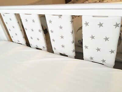 Handmade Cot Bar Bumpers Set Of 8 - White With Grey Stars
