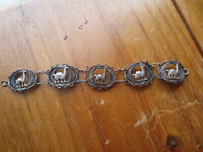 Vintage Antique Look Filigree 925 Sterling Silver Bracelet Camel Middle Eastern