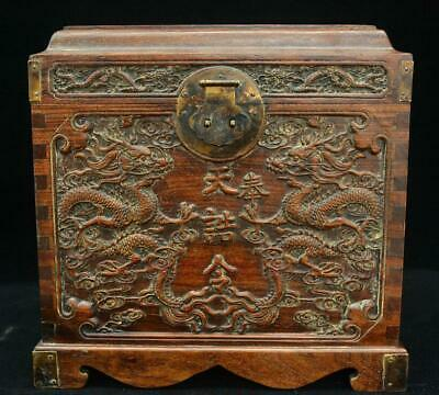 """12"""" Old Chinese Huang Huali Wood Dragon Stockpile Case Casket Drawer Jewelry Box"""
