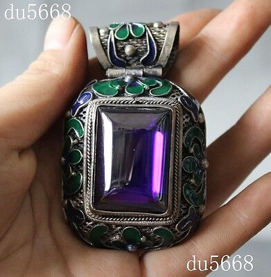 old Tibet Tibetan silver inlay Cloisonne Zircon gem exquisite Pendant necklace
