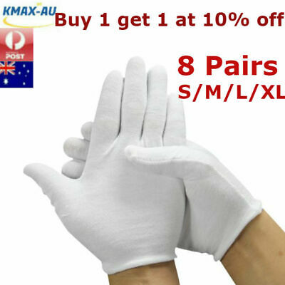 8 Pairs UNDER BOXING COTTON WHITE GLOVES LINER HAND PROTECTOR JEWELRY HANDLING