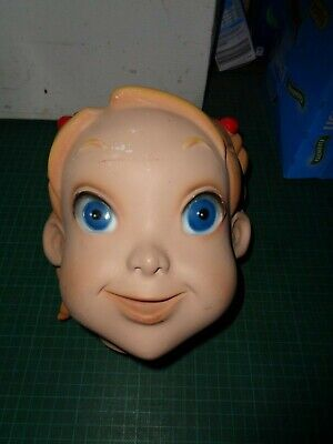 Vintage plaster child mannequin heads, cheeky face, screw attachment, girl