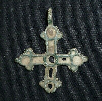 Knight Templar BRONZE CROSS with Enamel - Circa 11th - 12th Century AD     /1039