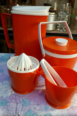 Retro Vintage ORANGE Australia Kitchenalia JUG ICE BUCKET JUICER Measuring CUP