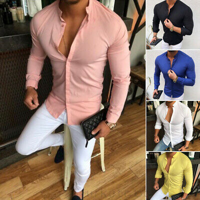 Men's Slim Fit V Neck Long Sleeve Muscle Tee T-shirt Casual Button-Down Shirts