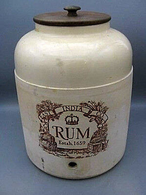 "Vintage East India Co 16"" by 14"" Rum Crock Wonderful Graphics Wood Lid"
