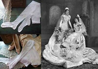 1890 LOVELY FRENCH WEDDING SILK STOCKINGS W EMBROIDERY & RIBBONS by AUCOC PARIS