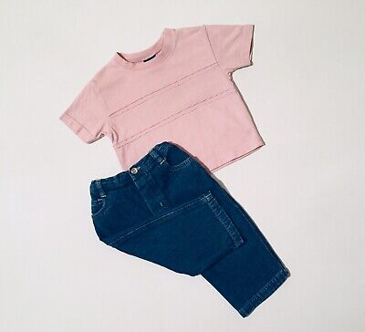 Mothercare Next Pink Top Blue Jeans Outfit Baby Boys 3-6 Months Short Sleeve