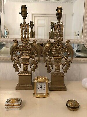 2 Deco Antique Vintage Traditional  Metal Lamps Only .Perfect Vintage Condition