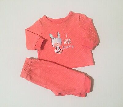 Baby Girls Pink Pyjamas George Top And Bottoms Set 0-3 Months Long sleeve