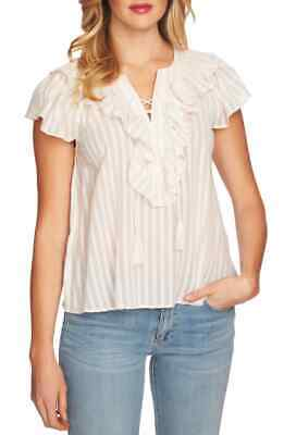 CECE Cotton Blouse Women New White Lace Up Casual Ladies Ruffle Stripe XL $79