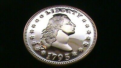 1795~Flowing Hair~DESIGN~On A 1 OZ. Copper Round .999~Silver Dollar Size