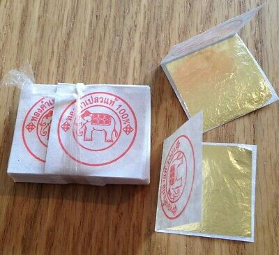 50 X Edible Genuine Real Pure 24K Gold Leaf Decorate Food Craft Cakes Gilding