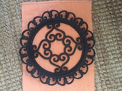 VERY LARGE BEAUTIFUL ORNATE CAST IRON TRIVET 13 1/2 inches round/wall decor