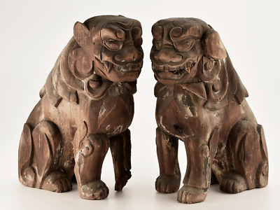 Antique Japanese Wood Carving Guardian Lion Dog Komainu Very Old Possibly 14th C