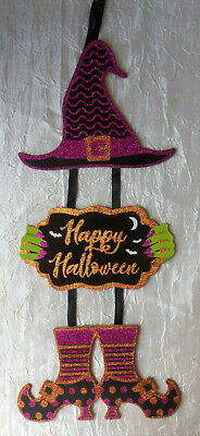 "Glitter Happy Halloween Witch Boots 18"" Hanging Door or Wall Sign Decor #681"