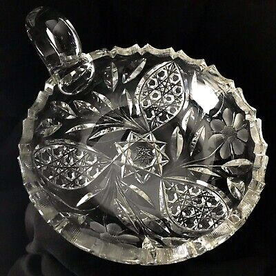 Antique Vtg Cut Pressed Etched Glass Dish Flower Leaves Handle Nappy Fancy Edge