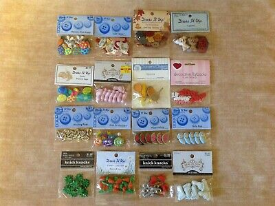 LOT OF 16 PKS. DRESS IT UP BUTTONS~~Mixed Themes~~NEW