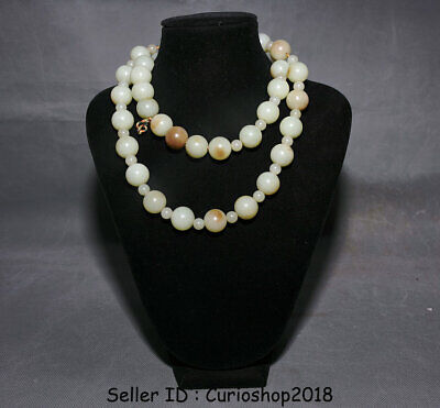 """16.8"""" Chinese Han Dynasty Hetian Old Jade Carving Bead weave necklace Pendant"""