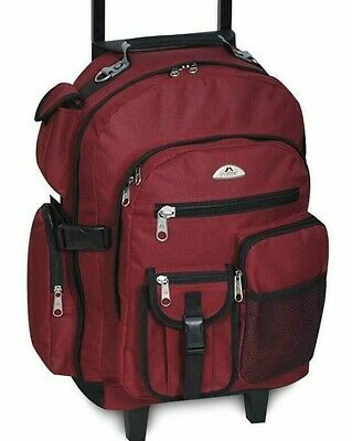 Burgundy Backpack Wheeled Suitcase Luggage with Handle Free Shipping