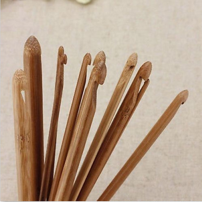 12 Size Bamboo Handle Crochet Hook Knit Weave Yarn Craft Knitting Needles Set 6""