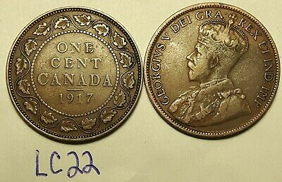 1917 & 1918  Canada Large Cent Penny King George V Lot of 2 Coins LC22b