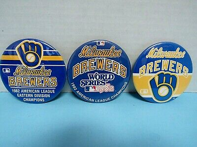 "Vtg(3) Milwaukee Brewers 3""  Pinback/Buttons Division Champs & World Series 1982"