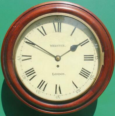 "Webster London Antique English 8 Day Mahogany 12"" Fusee Dial Clock"