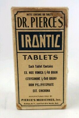 Vintage Dr. Pierces Irontic Tablets Box Tablets Instruction Iron Medicines NY