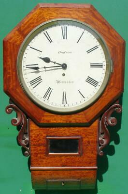 Hodson Worcester Antique English 8 Day Mahogany Fusee School Dropdial Clock