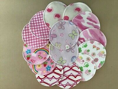 WASHABLE AND REUSABLE CLOTH NURSING BREAST PADS *7 Pairs / 14 Pads* PINKS