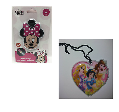 Disney Kids LED Shaped Flashlight Torch Minnie Mouse Princesses With Strap