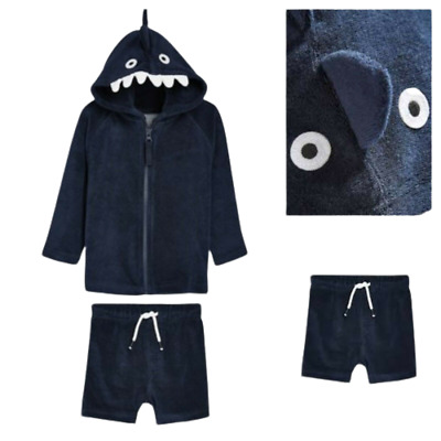 NEXT Boys Baby Shark Towelling Set Outfit Top Shorts Age 6-9 1.5-2 BNWT