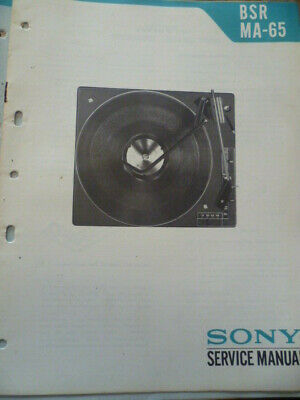 Sony BSR  MA-65 Stereo Turntable Service Manual