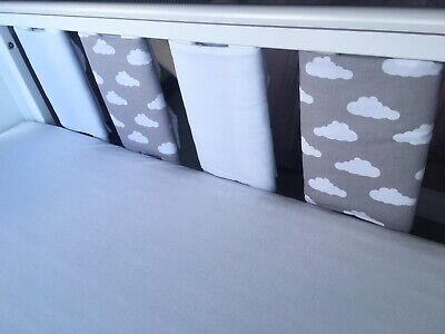 pack Of 8 New ⭐️️Grey /& White Stars /& Lemon  ⭐️️ Cot Bar Bumpers